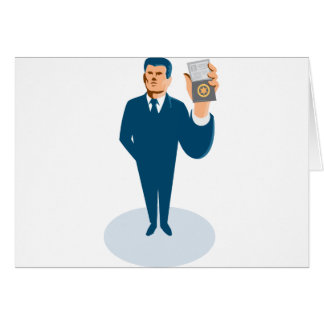 businessman secret agent showing id card badge wal