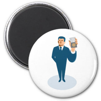 businessman secret agent showing id card badge wal 2 inch round magnet