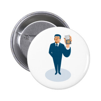 businessman secret agent showing id card badge wal button