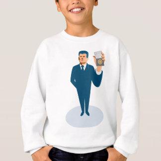 businessman secret agent showing id card badge wal sweatshirt