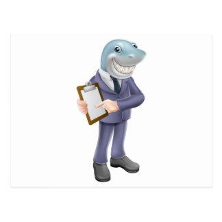 Businessman shark contract postcards