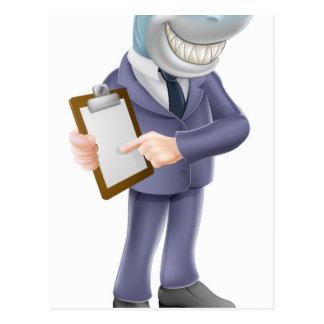Businessman shark contract postcard