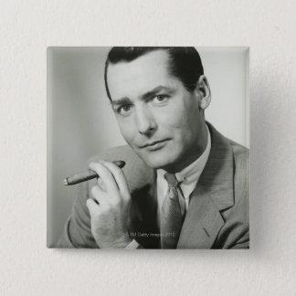 Businessman Smoking Cigar Button