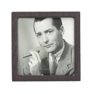 Businessman Smoking Cigar Jewelry Box