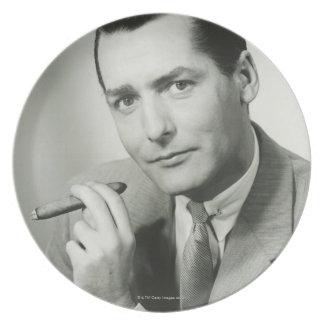 Businessman Smoking Cigar Dinner Plates