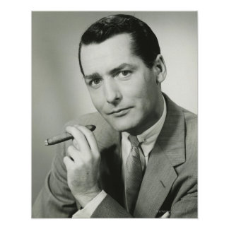 Businessman Smoking Cigar Posters