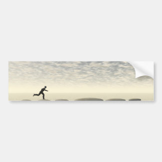 businessman that runs on steps grey - 3D rendering Bumper Sticker