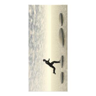 businessman that runs on steps grey - 3D rendering Rack Card