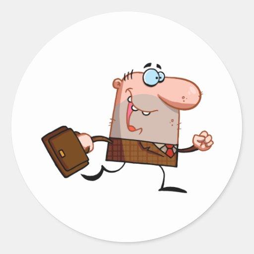 Businessman Walks With Briefcase Classic Round Sticker