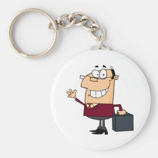 Businessman Waving  A Greeting Keychain