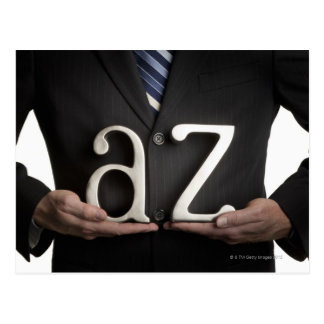 Businessman with A to Z letters Postcard