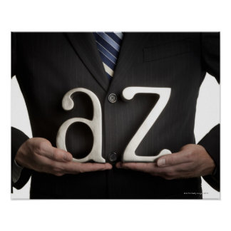 Businessman with A to Z letters Poster