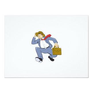 Businessman With Briefcase Running Cartoon Card