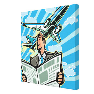 Businessman with newspaper and airplane above canvas print