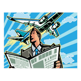 Businessman with newspaper and airplane above postcard