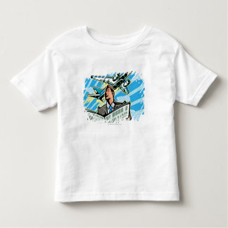 Businessman with newspaper and airplane above toddler t-shirt