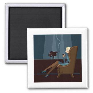Businesswoman Smoking Cigar 2 Inch Square Magnet