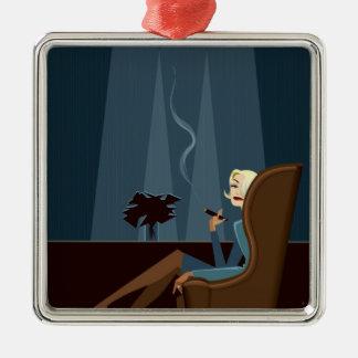 Businesswoman Smoking Cigar Metal Ornament