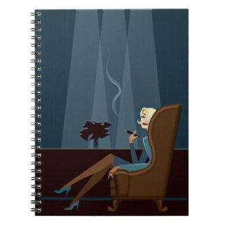 Businesswoman Smoking Cigar Notebook