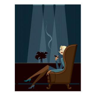 Businesswoman Smoking Cigar Postcard