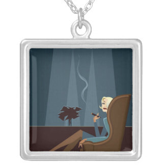 Businesswoman Smoking Cigar Silver Plated Necklace