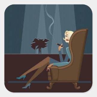 Businesswoman Smoking Cigar Square Sticker