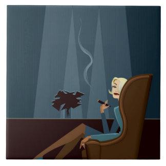 Businesswoman Smoking Cigar Tile