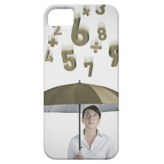 Businesswoman under umbrella with numbers and iPhone SE/5/5s case