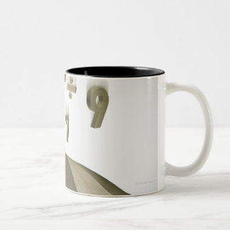 Businesswoman under umbrella with numbers and Two-Tone coffee mug