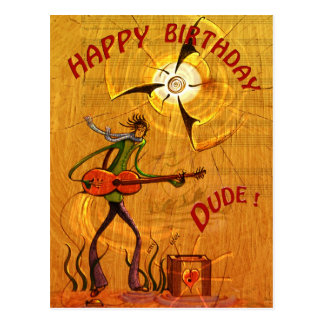 Busker Birthday postcard