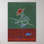 busker con la tortuga azul poster