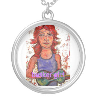 busker  girl round pendant necklace