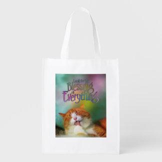 Busque el gato contentado bendición bolsa de la compra