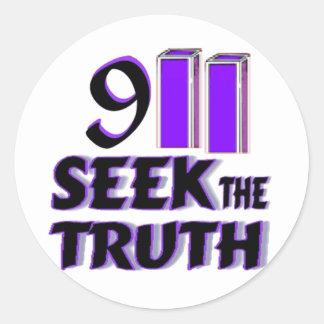 Búsqueda 911 la verdad pegatina redonda