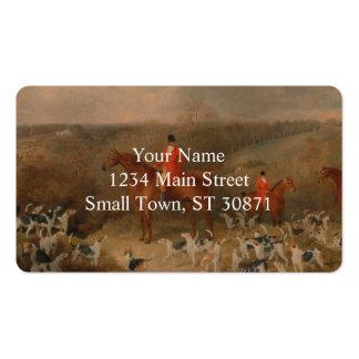 Búsqueda con los perros y la pintura al óleo tarjetas de visita