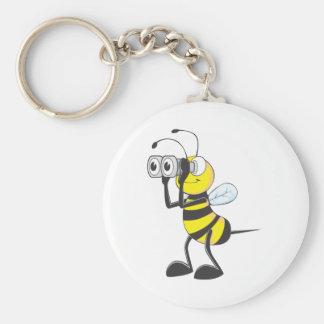 Búsqueda de la abeja llavero redondo tipo pin