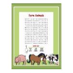 Búsqueda de la palabra de los animales del campo postales