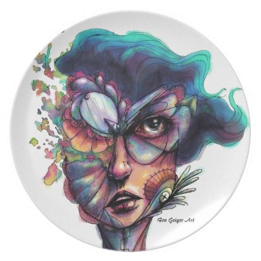 Búsqueda del azul profundo plato de cena