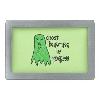 Búsqueda del fantasma en curso - fondo verde hebillas de cinturón rectangulares