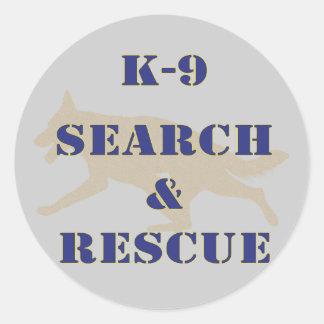 Búsqueda K-9 y rescate GSD Etiqueta Redonda
