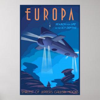 Búsqueda para la vida en el Europa de la luna de Póster
