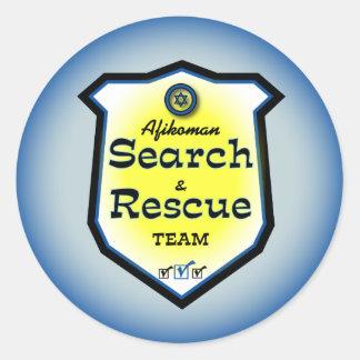 Búsqueda y equipo de rescate de Afikoman Pegatina Redonda