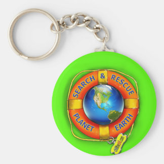 Búsqueda y rescate--¡Tierra del planeta! Bandera Llavero Redondo Tipo Pin