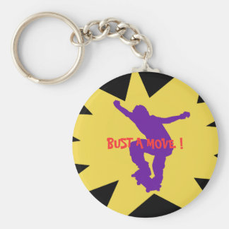 """"""" Bust a move """" Basic Round Button Keychain"""