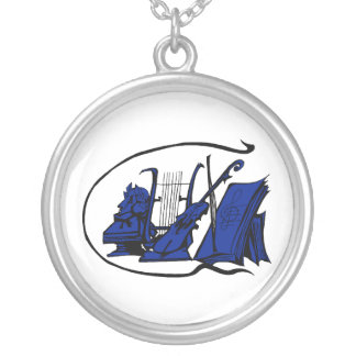 bust blue lyre violin sheet music design.png round pendant necklace