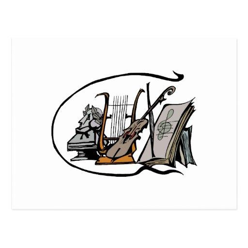 bust lyre violin sheet music design.png postcard
