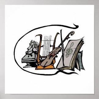 bust lyre violin sheet music design.png poster
