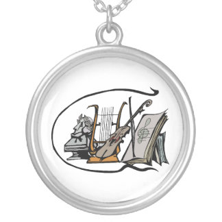 bust lyre violin sheet music design.png silver plated necklace