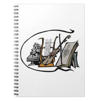 bust lyre violin sheet music design.png spiral notebook