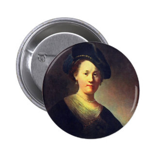 Bust Of A Woman With A Feathered Beret. Button